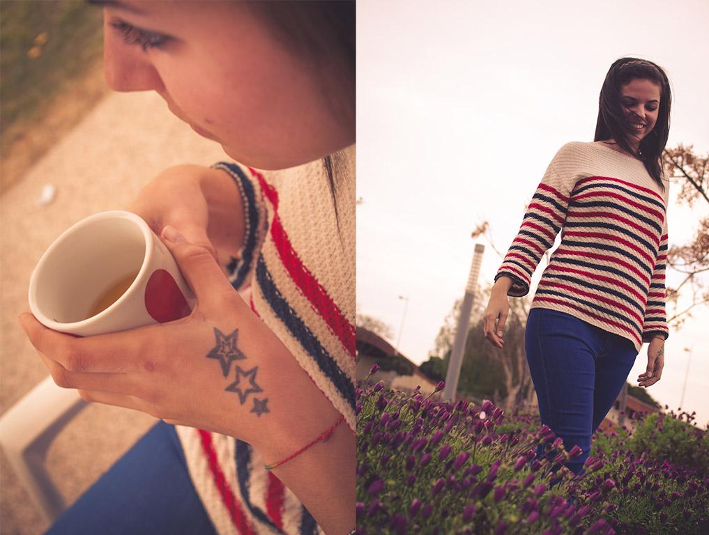 moda, mujchacha en El Toyo, Retamar. Tomando café